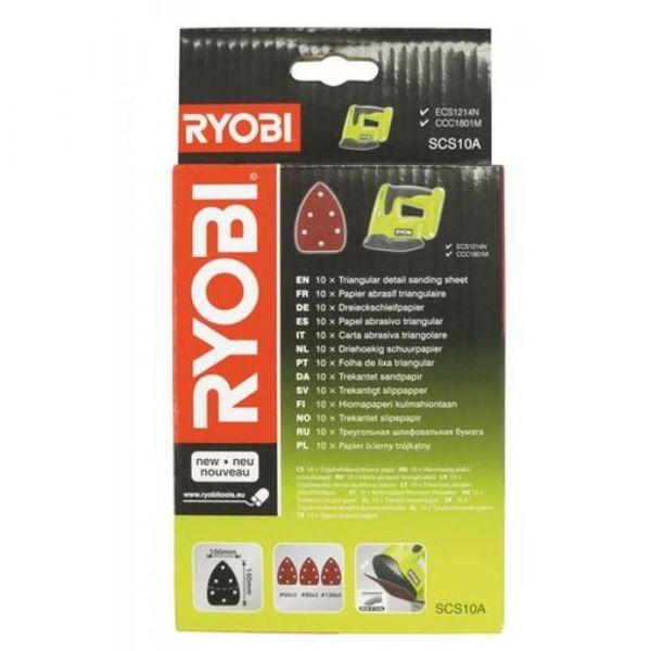 Ryobi SCS10A1 - 10ks sada brusných papírů k broušení v koutech
