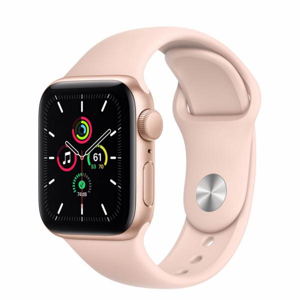 Apple Watch SE 40mm zlatý hliník s pískově růžovým sportovním řemínkem