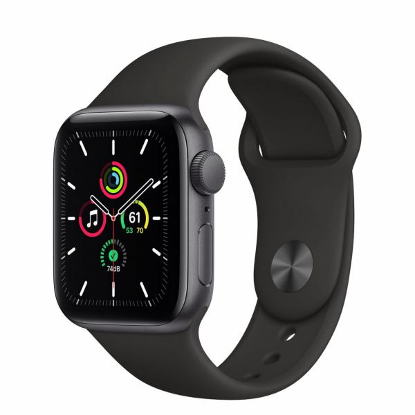 Apple Watch SE 40mm vesmírně šedý hliník s černým sportovním řemínkem