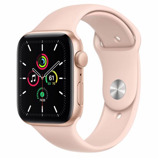 Apple Watch SE 44mm zlatý hliník s pískově růžovým sportovním řemínkem