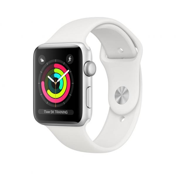 Apple Watch Series 3 42mm stříbrný hliník s bílým sportovním řemínkem (2017)
