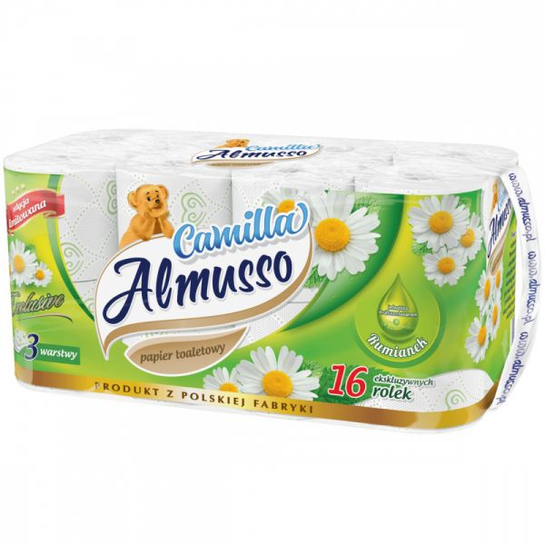 Almusso toaletní papír Camilla. bílý. 3 vrstvý. 16ks. celulóza