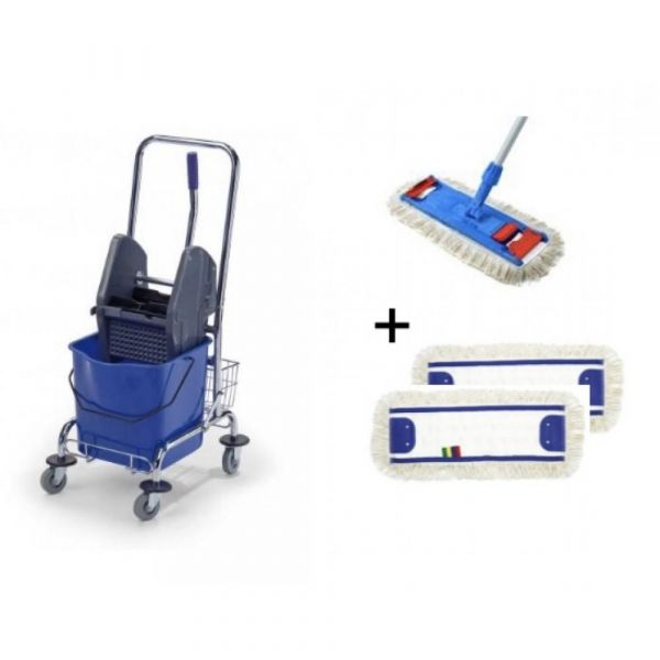 Bohman - ÚKLIDOVÝ SET 2 - 1 x úklidový vozík, 1 x set mopu, 2 x návlek
