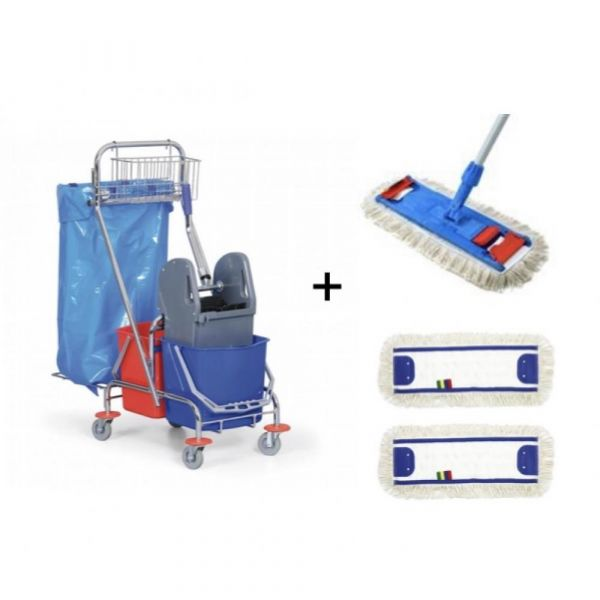 Bohman - ÚKLIDOVÝ SET 4 - 1 x úklidový vozík, 1 x set mopu, 2 x návlek