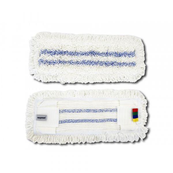MOPMAN PROFI TUFTING plochý mop mikrovlákno bílý / modré pruhy 40 cm kapsový s jazyky