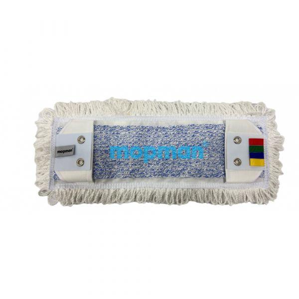 MOPMAN PROFI TUFTING plochý mop mikrovlákno bílé okraje / modrý vnitřní pás 40 cm kapsový s jazyky 2 oka