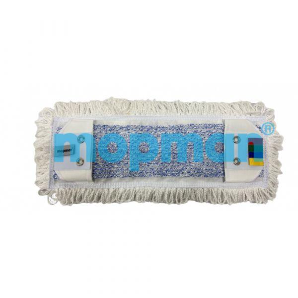 MOPMAN PROFI TUFTING plochý mop mikrovlákno bílé okraje / modrý vnitřní pás 50 cm kapsový s jazyky 2 oka 50 ks