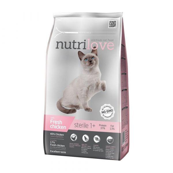 Nutrilove granule pro kočky Sterile s čerstvým kuřecím 1.4 kg
