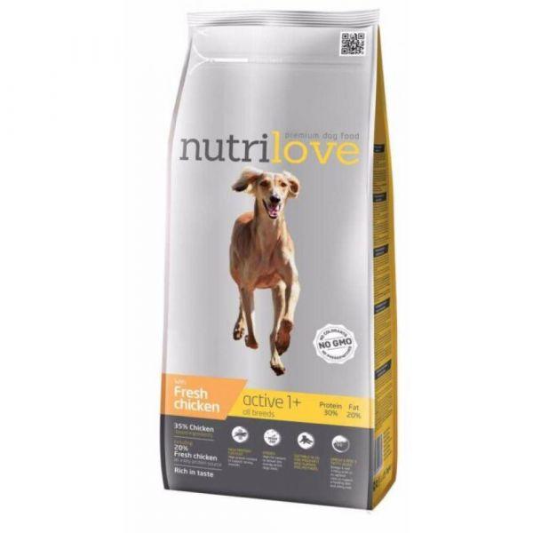 Nutrilove granule pro psy Active s čerstvým kuřecím 12 kg