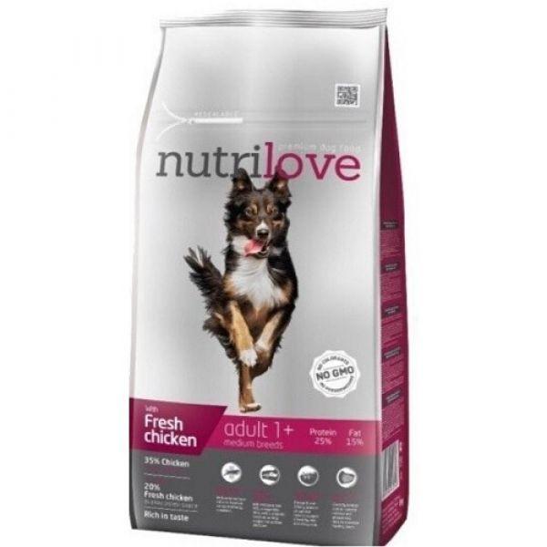 Nutrilove granule pro psy Adult M s čestvým kuřecím 8 kg