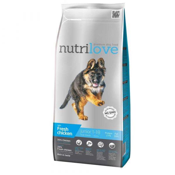 Nutrilove granule pro psy Junior L s čerstvým kuřecím 12 kg