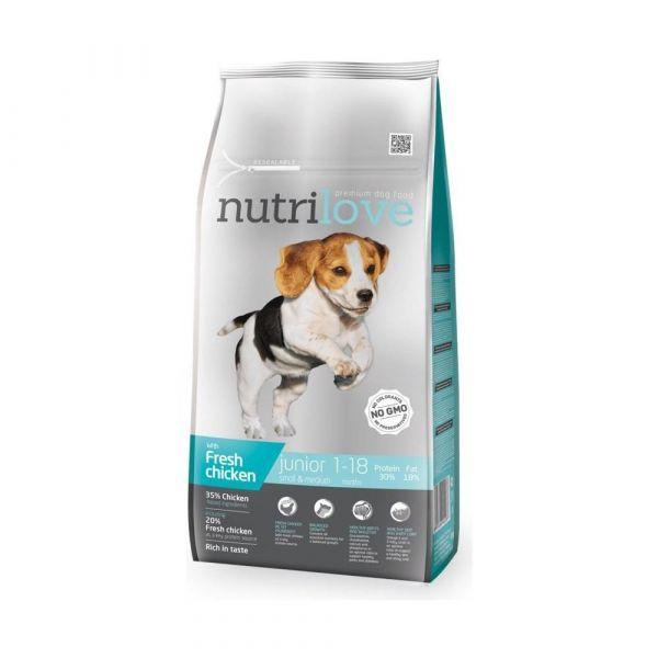 Nutrilove granule pro psy Junior S&M s čerstvým kuřecím 8 kg