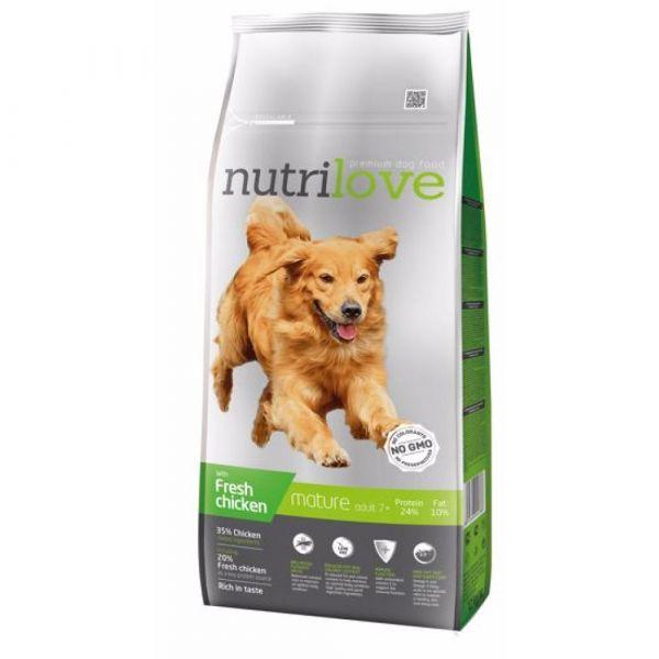 Nutrilove granule pro psy Mature 7+ s čerstvým kuřecím 12 kg