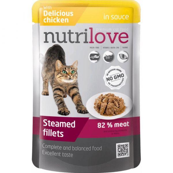 Nutrilove kapsička pro kočky s kuřecím v omáčce 85 g