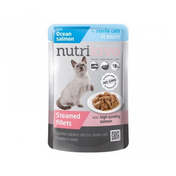Nutrilove kapsička pro kočky Sterile s lososem v omáčce 85 g
