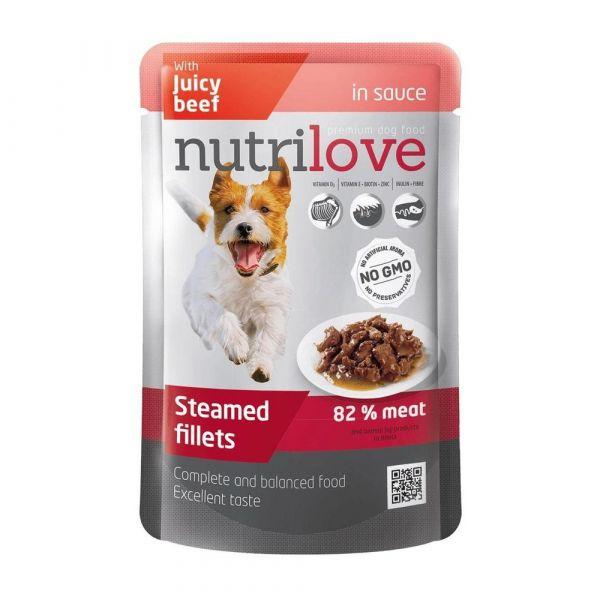 Nutrilove kapsička pro psy s hovězím v omáčce 85 g