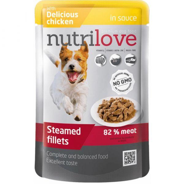 Nutrilove kapsička pro psy s kuřecím v omáčce 85 g