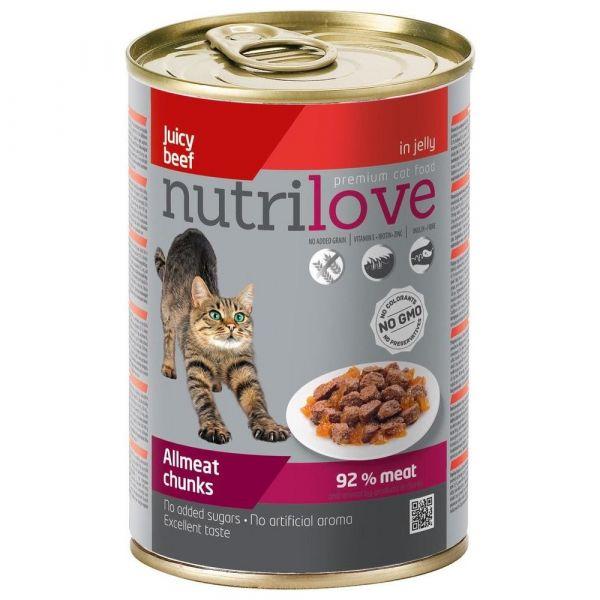 Nutrilove kousky pro kočky hovězí v želé 400 g