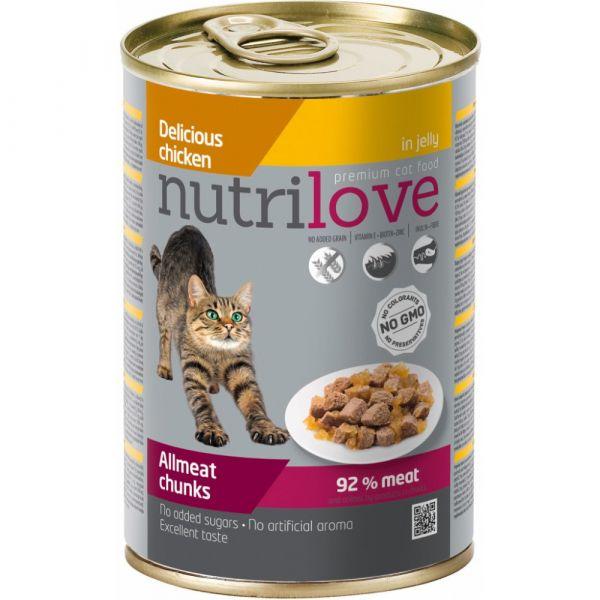 Nutrilove kousky pro kočky kuřecí v želé 400 g