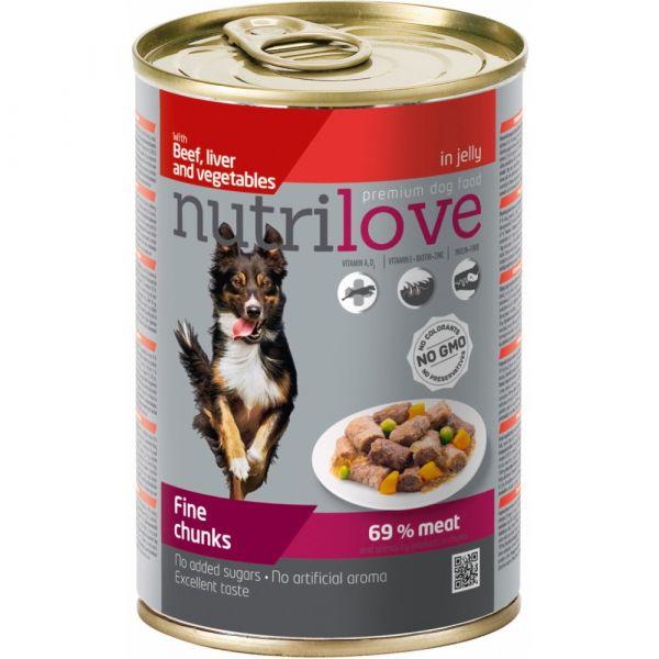 Nutrilove kousky pro psy s hovězím. játry a zeleninou v želé 415 g