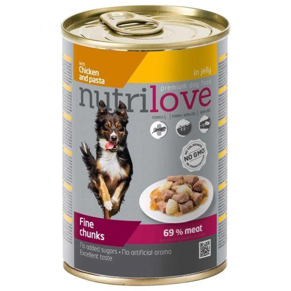 Nutrilove kousky pro psy s kuřecím a těstovinami v želé 415 g
