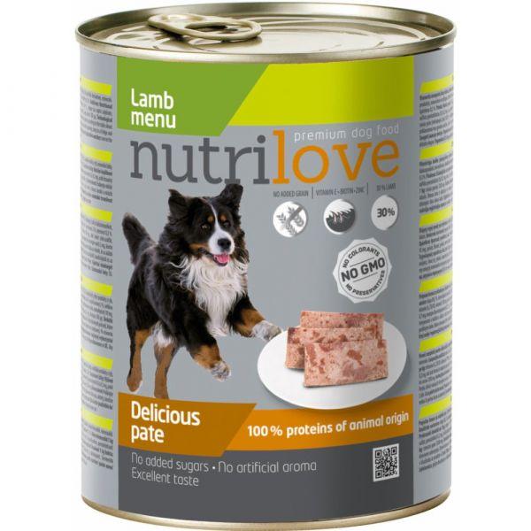 Nutrilove paté pro psy jehněčí 800 g