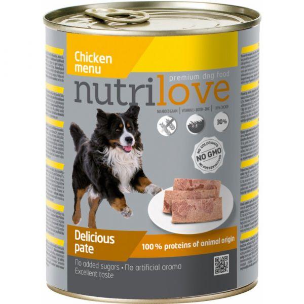 Nutrilove paté pro psy kuřecí 800 g