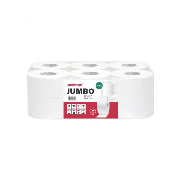Perlmax toaletní papír v roli Jumbo 24cm. 2 vrstvý, celuóza, 6ks