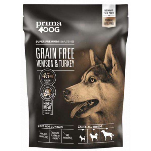 PrimaDog Zvěřina s krůtou bez obilovin. pro dospělé psy s citlivým trávením. 1.5 kg