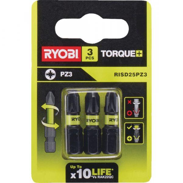 Ryobi RISD25PZ3 - 3ks sada 25mm rázových bitů Torque+