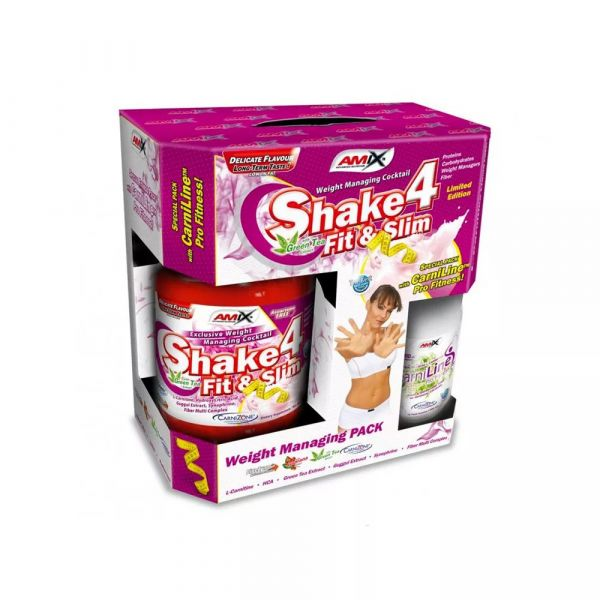Amix Shake 4 Fit&Slim 1000g strawberry BOX + Free L-Carnitine 480ml