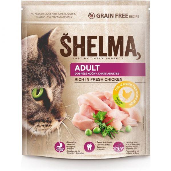 Shelma Adult bezobilné granule s čerstvým kuřecím pro dospělé kočky 750 g