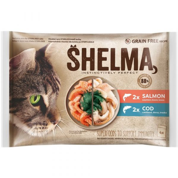 Shelma bezobilné dušené filetky 2 druhy ryb 4 × 85 g