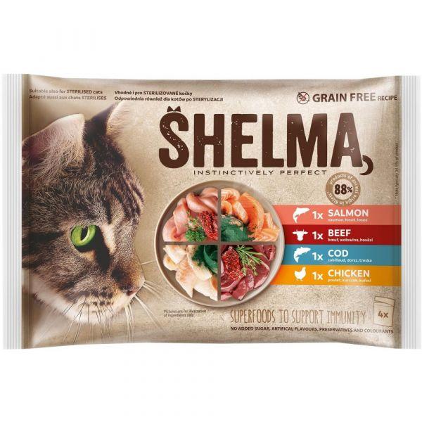 Shelma bezobilné dušené filetky výběr z masa a ryb 4 × 85 g