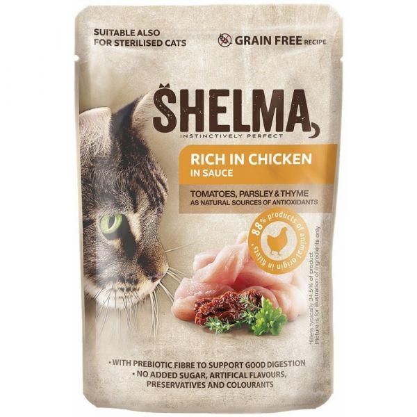 Shelma kapsa kočka s kuřecím. rajčaty a bylinkami v omáčce 85g