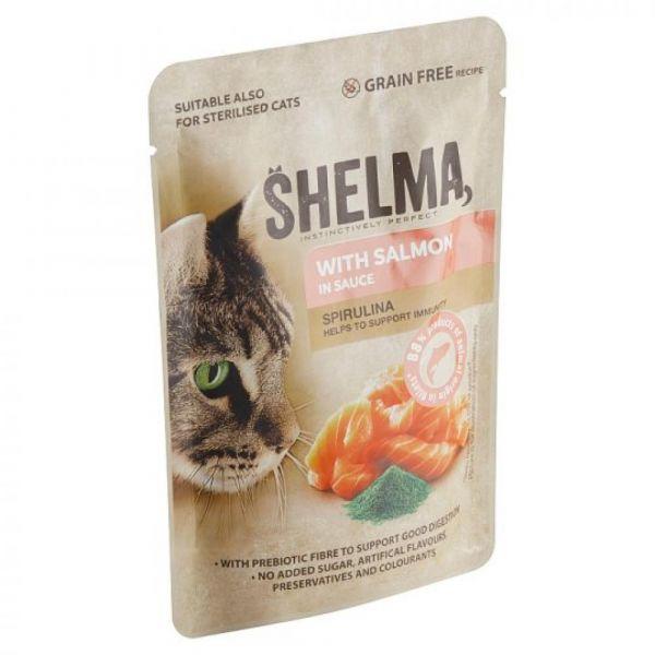 Shelma kapsa kočka s lososem a spirulinou v omáčce 85g