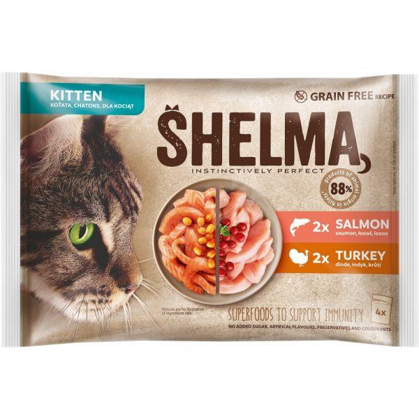 Shelma Kitten bezobilné dušené filetky losos a krůta 4 × 85 g