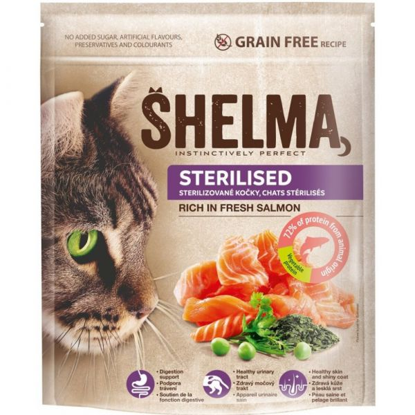 Shelma Sterile bezobilné granule s čerstvým lososem pro dospělé kočky 750 g