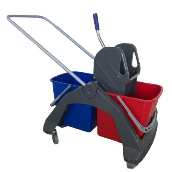Úklidový vozík BOB 246. 2 x 23 litrů. včetně ždímače. plastová konstrukce