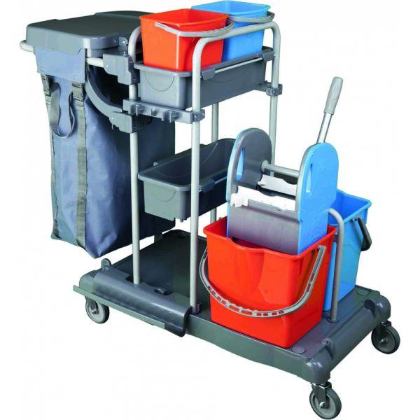 Úklidový vozík TRACY 20. 2 x 17 litrů. 2 x 8 litrů. včetně ždímače. poličky. držáku odpadních pytlů. nylonového vaku.